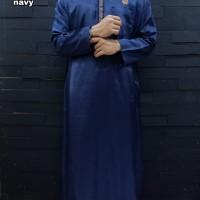 Gamis Pria Lengan Panjang Hoodie Navy Al Amwa - Kurta Pakistan Hoodie