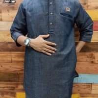 Gamis Pakistan Lengan 3/4 Bahan Linen Cemrey - Kurta Pakistan Al Amwa