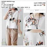 AB638168 Baju Atasan Katun Lengan Pendek Wanita Blouse Korea Import