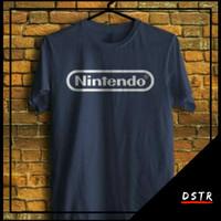 Kaos Baju Distro Gaming Game Nitendo Logo Warna Dongker Navy XS-4XL