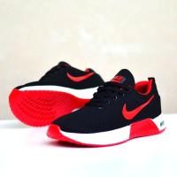 sepatu sport pria nike free flyknit men hitam merah running sneaker