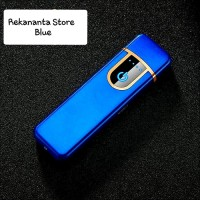 Korek Api Elektrik USB Charger / Fingerprint Induction Lighter - Blue