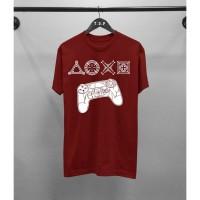 T-shirt PS Console/ Baju Kaos Distro Pria Wanita Merah Pendek Slimfit