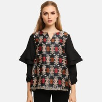 Anakara Blouse Batik Wanita - Layer Puff Tops Bali Songket - Black