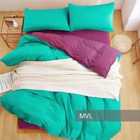 Marvelo Bedcover Sprei Set Katun Polos Warna Tosca Ungu Bed 120 cm