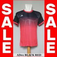 Kaos Futsal Bola Sepakbola Adidas AD01 (Baju Kaos Jersey Olahraga) - Black Red, M