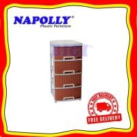 Lemari Container Rotan Rattan Plastik 4 Susun Napolly CONTAN BB 400 K1