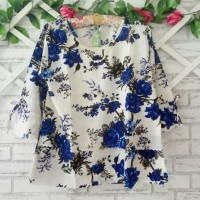 blouse wanita XL/atasan wanita flower blue XL/baju kantor XL
