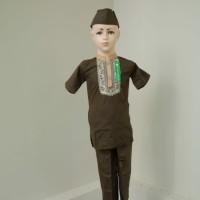 Grosir Setelan Baju Koko Muslim Anak Laki - laki Lengan Pendek Coklat - 3-4 tahun, Cokelat