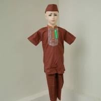 Baju Koko Setelan Anak Laki - laki Muslim Lengan Pendek Pesantren Baru - 3-4 tahun