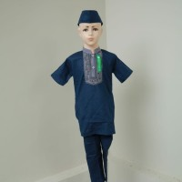 Setelan Baju Koko Anak Laki - laki Muslim Lengan Pendek Biru Dongker - 3-4 tahun, Biru