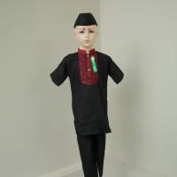 Baju Koko Setelan Anak Laki - laki Muslim Pakistan Lengan Pendek Hitam - 3-4 tahun, Hitam