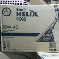 oli Shell Helix HX6 10W-40 100% jamin asli kemasan 4liter khusus gosen