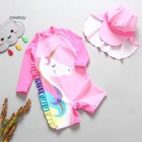 Baju Renang One Piece Motif Unicorn dengan Topi untuk Bayi Perempuan