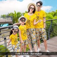 Jual Baju Keluarga Couple Saranghae 2 anak Warna Kuning Simpel Murah