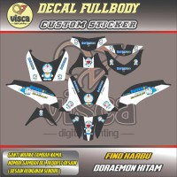 Stiker variasi motor Fullbody Striping FINO KARBU DORAEMON HITAM
