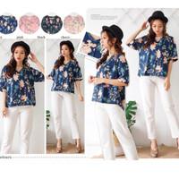 baju atasan blouse kemeja v neck motif bunga wanita casual