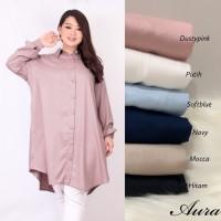 kemeja jumbo wanita LD 100 -120 ( FIT TO 3XL ) Panjang Long shirt Aura