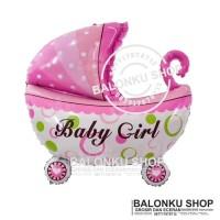Balon Foil Baby Shower Stroller Girl / Balon Foil Kereta Baby Mini
