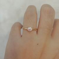 cincin emas asli model solitaire permata kadar 700 70% 18k 22 1gram