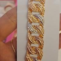 Rantai tangan gelang 2 warna emas asli kadar 70% 700 sisik naga 18 gr