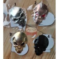 Stiker mobil motor tengkorak skull sticker emblem metal solid