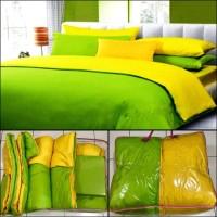 BED COVER SET POLOS BOLAK BALIK 2 WARNA KUNING HIJAU MUDA 180X200