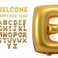 Balon Foil Huruf Besar Gold Size 40/100cm