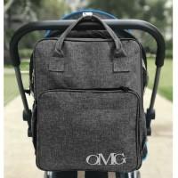 baby diaper bag tas perlengkapan bayi ransel backpack OMG grey - Abu-abu