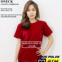 Kaos Polos Cotton Combed 20s Lengan Pendek Anak Size 0