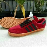TERLARIS Sepatu Adidas Casual Hamburg Suede Merah List Hitam Gum
