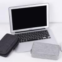 Cable Pouch Travel Organizer denim Dompet Digital Power Bank USB F218