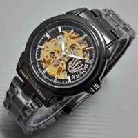 Jam Tangan Pria / Cowok Rolex Rantai Skeleton Diamond Black