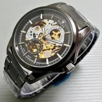 Jam Tangan Pria / Cowok Rolex Rantai Big Size Skeleton Black