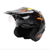 WTO Helmet Pro-Sight Cross Helm Half Face - Hitam Orange