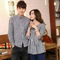 Butikonline83FS - Kemeja Dress Couple Katun Kotak DRS296 Baju Seragam