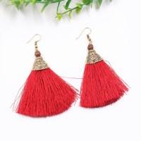 Bohemian Folk Tassel Earrings Red