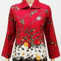 Blouse Blus Kemeja Atasan Seragam Wanita Batik 2532 Merah
