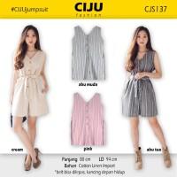 CJS137 | Stripe Button Jumpsuit Sleeveless Jumper Romper Baju Terusan - Abu-abu