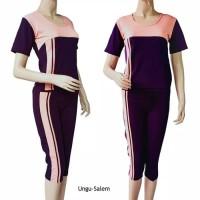 Baju Senam Tangan Pendek dan Celana 3/4 BSN-03 Size Xxl