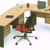 Meja Tulis Kerja Staff Kantor Eksekutif Murah bentuk L -TANPA KURSI-