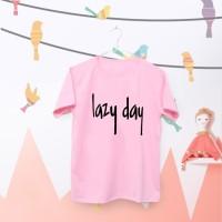 Tumblr Tee / T-Shirt / Kaos Wanita Lengan Pendek Lazy Day Warna Pink