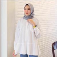 kemeja H&M/baju Atasan Wanita terbaru kemeja wanita polos putih blouse