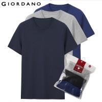 Original Giordano Men T Shirt Men Short Sleeves 3-pack Tshirt Men