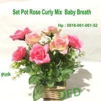 Mawar Rose Curly Mix Baby Breath + Pot / Bunga Plastik