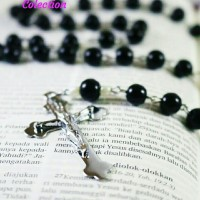 Kalung Rosario batu Black onyx asli