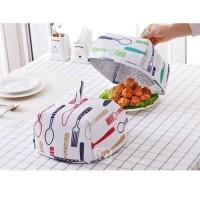 Tudung Saji Lipat Lapisan Foil Penahan Panas makanan motif tebal meja