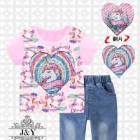 baju kaos anak perempuan sequin flip kuda pony poni unicorn t-shirt