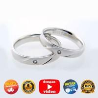 RC 062 - Ring Couple Korea, Silver Emas Putih ASLI - Garansi 6 bulan