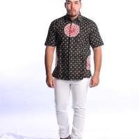 Kemeja Lengan Pendek Katun Hitam Batik Cap Tuntum Bola Baju Pesta